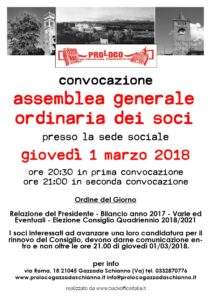 Convocazione assemblea 2018