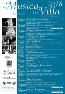 Programma Musica In Villa 2018